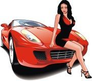 Κορίτσι της Νίκαιας και το αρχικό αυτοκίνητο σχεδίου μου Στοκ εικόνα με δικαίωμα ελεύθερης χρήσης