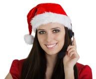 Κορίτσι τηλεφωνικών κέντρων Χριστουγέννων Στοκ Φωτογραφίες