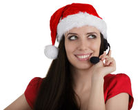 Κορίτσι τηλεφωνικών κέντρων Χριστουγέννων Στοκ φωτογραφίες με δικαίωμα ελεύθερης χρήσης