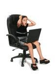 κορίτσι υπολογιστών τρελλό στοκ εικόνες με δικαίωμα ελεύθερης χρήσης