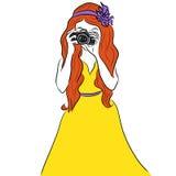 κορίτσι φωτογραφικών μηχανών ανασκόπησης που απομονώνεται πέρα από το λευκό φωτογράφων απεικόνιση αποθεμάτων