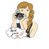 κορίτσι φωτογραφικών μηχανών ανασκόπησης που απομονώνεται πέρα από το λευκό φωτογράφων στοκ φωτογραφίες
