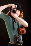 κορίτσι φωτογραφικών μηχανών πολλές Στοκ φωτογραφία με δικαίωμα ελεύθερης χρήσης