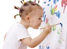 κορίτσι χαρτονιών λίγο χρώμα Στοκ Φωτογραφία