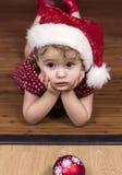 κορίτσι Χριστουγέννων λίγ στοκ φωτογραφίες