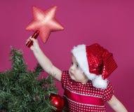κορίτσι Χριστουγέννων λίγ στοκ φωτογραφία
