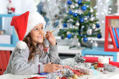 κορίτσι Χριστουγέννων λί&gamma Στοκ φωτογραφία με δικαίωμα ελεύθερης χρήσης
