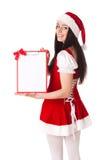 Κορίτσι Χριστουγέννων με την περιοχή αποκομμάτων Στοκ Εικόνες