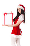 Κορίτσι Χριστουγέννων με την περιοχή αποκομμάτων Στοκ φωτογραφία με δικαίωμα ελεύθερης χρήσης