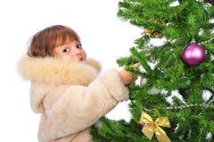 κορίτσι Χριστουγέννων πέρ&alph Στοκ Εικόνα