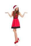 Κορίτσι Χριστουγέννων που παρουσιάζει τα προϊόντα Στοκ φωτογραφία με δικαίωμα ελεύθερης χρήσης