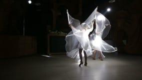 κορίτσι δύο ηθοποιών στο λευκό απόθεμα βίντεο