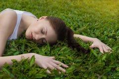 Κορίτσι ύπνου στα πράσινα φύλλα Στοκ Εικόνα