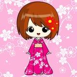 Κορίτσι Anime στο ρόδινο κιμονό απεικόνιση αποθεμάτων