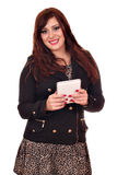 Κορίτσι Brunette με το PC ταμπλετών στοκ φωτογραφία με δικαίωμα ελεύθερης χρήσης