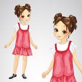 Κορίτσι Brunette σε κόκκινο Sarafan διανυσματική απεικόνιση