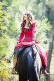 Κορίτσι Brunette στο άλογο Στοκ εικόνες με δικαίωμα ελεύθερης χρήσης
