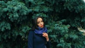 Κορίτσι Brunette στο χειμερινό πάρκο με το πεύκο σε αργή κίνηση απόθεμα βίντεο