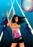 κορίτσι disco διανυσματική απεικόνιση
