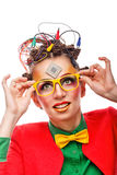 Κορίτσι geek Τεχνικός υπολογιστών Γυαλιά Στοκ φωτογραφία με δικαίωμα ελεύθερης χρήσης