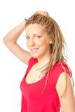 κορίτσι hairstyle πολλές κοτσίδ&eps Στοκ Εικόνες