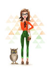 Κορίτσι Hipster Watercolour με Ow απεικόνιση αποθεμάτων