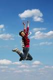 κορίτσι jumpinp Στοκ Φωτογραφία
