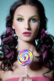 κορίτσι lollipop στοκ εικόνες