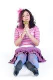 κορίτσι lollipop στοκ φωτογραφίες