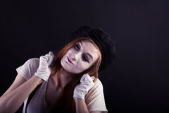 Κορίτσι Mime συγκινημένο Στοκ Εικόνες