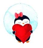 Κορίτσι Penguin με την καρδιά Απεικόνιση Watercolor που απομονώνεται στο άσπρο υπόβαθρο Στοκ φωτογραφία με δικαίωμα ελεύθερης χρήσης