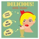 Κορίτσι Pinup με το κούνημα γάλακτος Στοκ Εικόνα