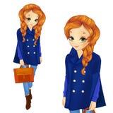 Κορίτσι Redhair στο σκούρο μπλε παλτό απεικόνιση αποθεμάτων