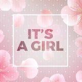 κορίτσι s Διανυσματική floral κάρτα με το πλαίσιο και το κείμενο Εγγραφή καλλιγραφίας Στοκ φωτογραφία με δικαίωμα ελεύθερης χρήσης