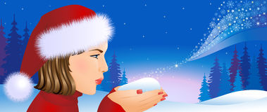 Κορίτσι Santa στην ανασκόπηση Χριστουγέννων. Στοκ Φωτογραφίες