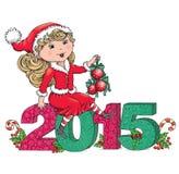 Κορίτσι 2015 Santa Στοκ Εικόνες