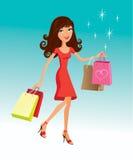 κορίτσι shoppind Διανυσματική απεικόνιση
