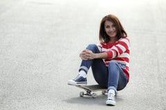 Κορίτσι skateboard Στοκ Εικόνες