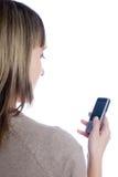 κορίτσι sms που γράφει Στοκ Φωτογραφία