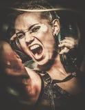 Κορίτσι Steampunk με τα ακουστικά Στοκ εικόνα με δικαίωμα ελεύθερης χρήσης