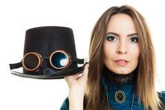 Κορίτσι Steampunk με το καπέλο Στοκ Εικόνες