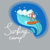 Κορίτσι Surfer που οδηγά τη διανυσματική εικόνα κυμάτων θάλασσας ελεύθερη απεικόνιση δικαιώματος