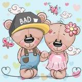 Κορίτσι Teddy αγοριών Teddy καρτών Greeeting διανυσματική απεικόνιση