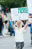 Κορίτσι Vegeterian Europride 2014 στην παρέλαση Στοκ εικόνες με δικαίωμα ελεύθερης χρήσης