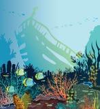 Κοραλλιογενής ύφαλος, ψάρια, βυθισμένο σκάφος Υποβρύχια θάλασσα ελεύθερη απεικόνιση δικαιώματος