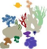 Κοραλλιογενής ύφαλος ζωηρόχρωμες σκιαγραφίε&sigma Στοκ Φωτογραφία