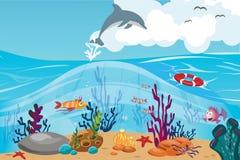 Κοραλλιογενής ύφαλος και υποβρύχια παγκόσμια διανυσματική απεικόνιση στοκ εικόνα με δικαίωμα ελεύθερης χρήσης