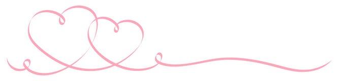 Κορδέλλα καλλιγραφίας δύο συνδεδεμένη ρόδινη καρδιών ελεύθερη απεικόνιση δικαιώματος