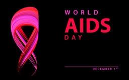 Κορδέλλα Παγκόσμιας Ημέρας κατά του AIDS που απομονώνεται στο Μαύρο διάνυσμα απεικόνιση αποθεμάτων