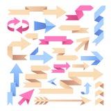 Κορδέλλες βελών Βέλη εγγράφου Origami Εκλεκτής ποιότητας arrowheads χρώματος διανυσματικό σύνολο ελεύθερη απεικόνιση δικαιώματος